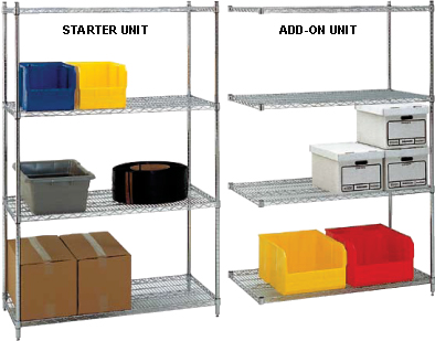 Chrome Wire Shelving Add-On Unit